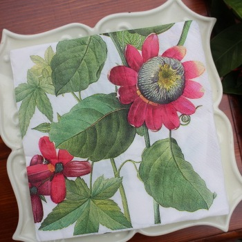vintage table Napkin paper tissue printed Passionflower dragonfly handkerchief decoupage servilletas wedding party hotel decor image