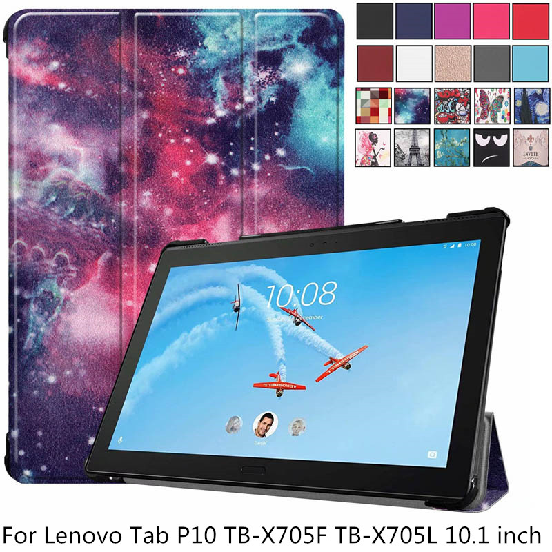 Ultra-Slim Magnetic <font><b>Case</b></font> for <font><b>Lenovo</b></font> Tab P10 <font><b>TB</b></font>-X705F <font><b>TB</b></font>-<font><b>X705L</b></font> Smart Cover for <font><b>Lenovo</b></font> Tab P10 10.1 inch Tablet Funda Capa + pen image