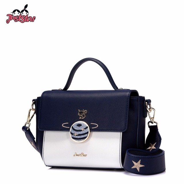 Just Star Women S Pu Leather Handbags Las Cartoon Fox Embroidery Planet Tote Bag Female Wide Shoulder