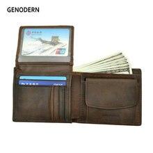 Мужские кошельки GENODERN из коровьей кожи с карманом для монет, Винтажный Мужской кошелек, Коричневый мужской кошелек из натуральной кожи с отделением для карт