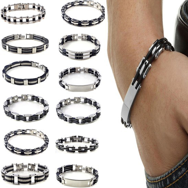 Men Stainless Steel Black Rubber Cuff Bangle Hand Chain Cross Motorcycle Biker Male Personality Jewelry Accessories