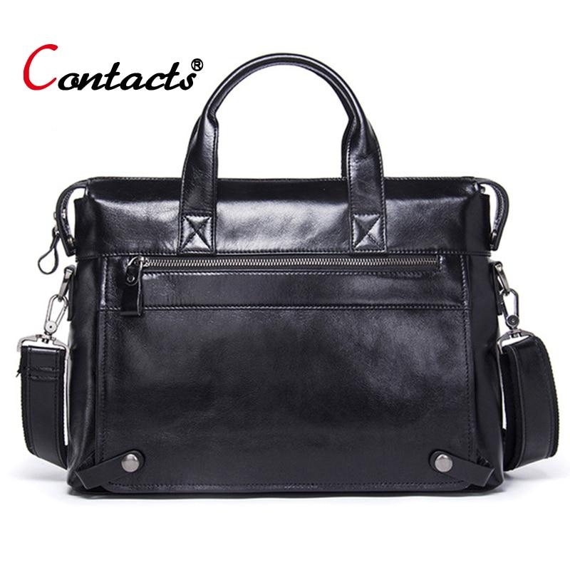 Contact's Brand Genuine Leather Handbag Men's Bag Shoulder Bag Men Messenger Bags Laptop Briefcase Male Crossbody Bag Big Casual