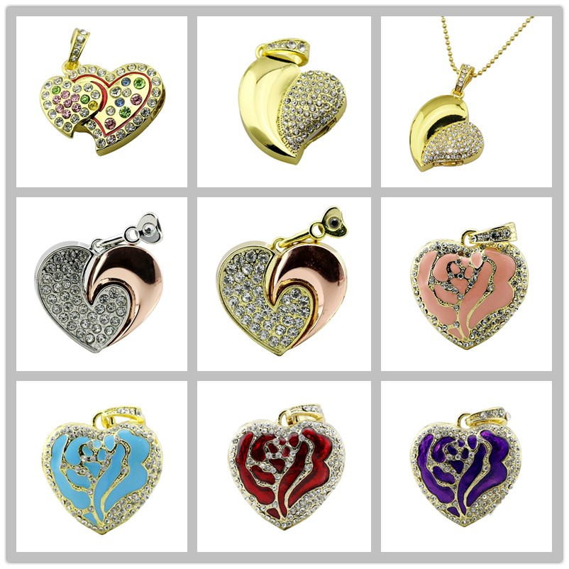 Real Capacity Crystal Heart USB Flash Drive Disk Necklace 8GB 16GB 32GB Diamond Heart Jewelry Usb Pendrive Creative Girl Gift