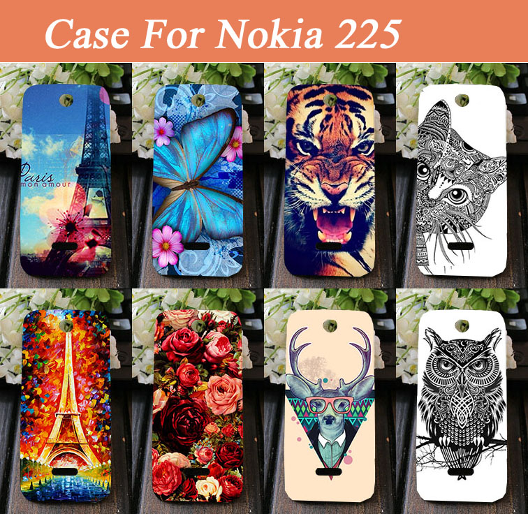 detailed look c3322 3455f Ultra Slim Hard Back Cover Rose Flower Animal painted case for Nokia Asha  225 cover for Nokia 225 Dual SIM Drop Shipping