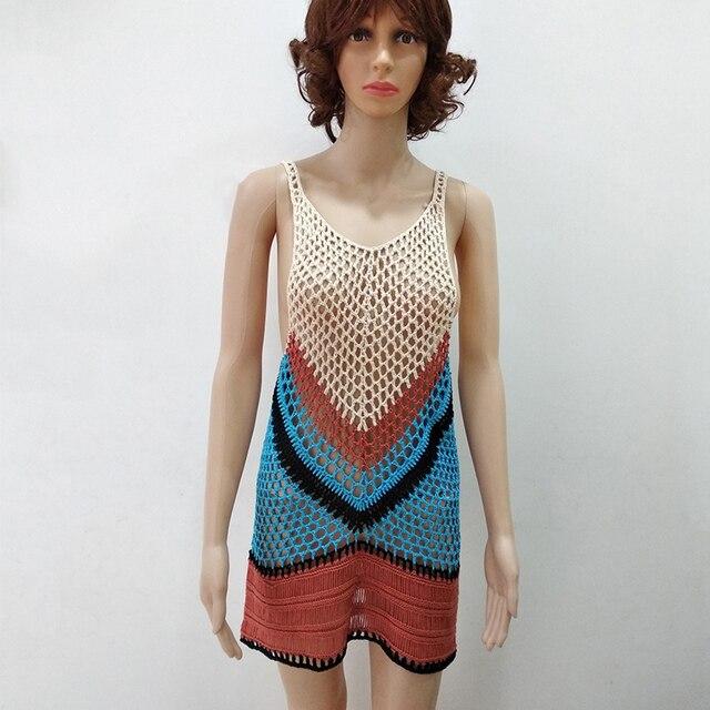2018 New Beach Cover-Up Bikini Crochet Knit Swimwear Summer Beach Clothing Hollow Swimsuit Cover Up Beach Wear Clothes 4