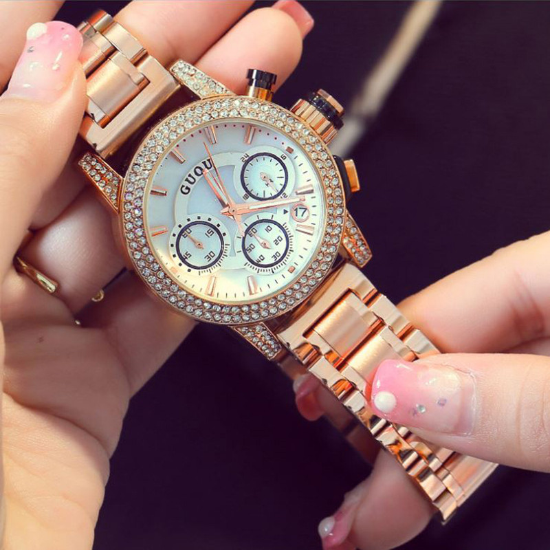 GUOU Women's Watch Fashion Rose Gold Watchband Ladies Watch Calendars Luxury Diamond Women Watches Full Steel Clock reloj mujer weiqin women watch brand luxury ceramic band rhinestone fashion watches ladies rose gold wrist watch quartz watch reloj mujer