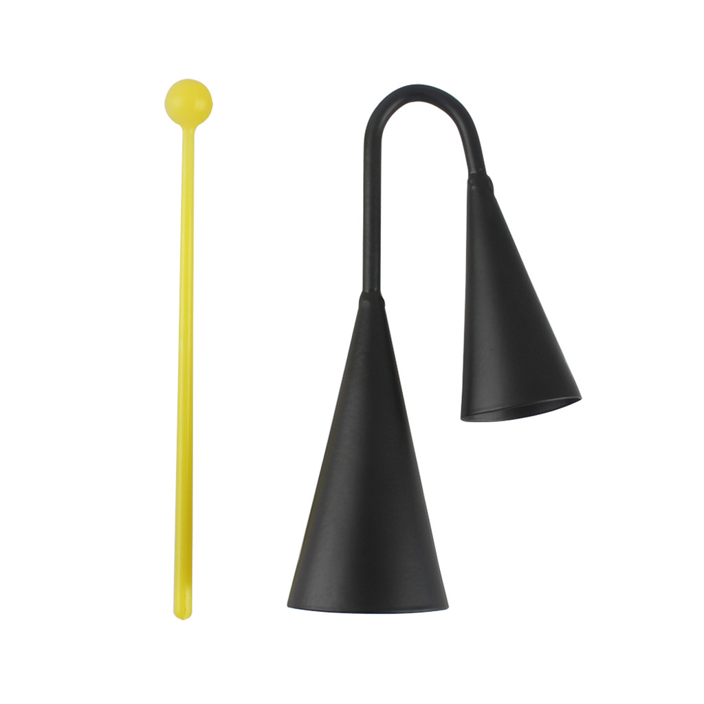 Black Iron Double Cowbell Percussion for Musical Learning Instruments
