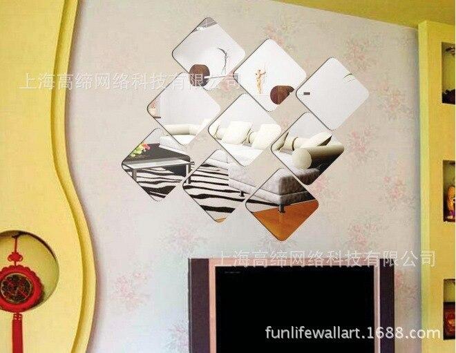 6 unids/set MASCOTA De Plástico Cuadrados Espejo de Pared de Acrílico Espejo Decorativo pegatinas de Pared de Baño Decoración Del Hogar Arte de La Pared De Papel Mural
