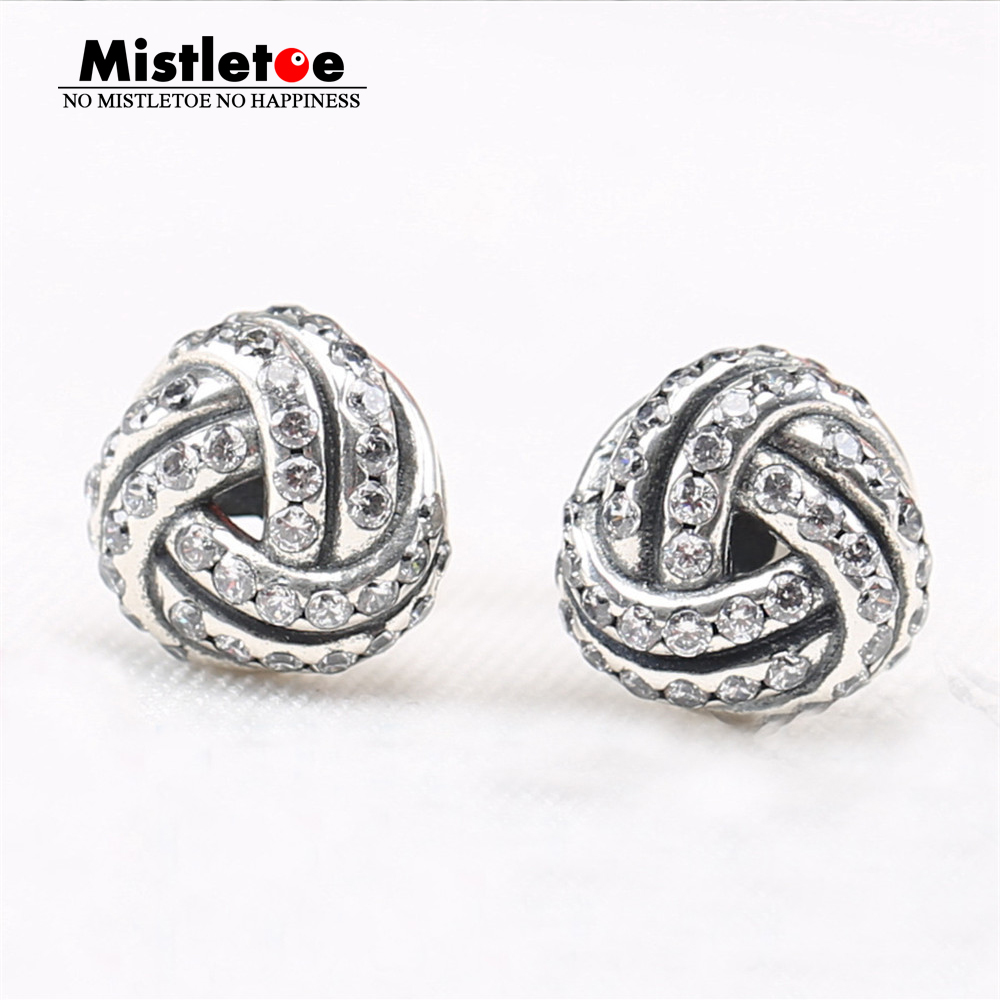 8311b1da8 Authentic 925 Sterling Silver Original Sparkling Love Knots, Clear CZ Stud  Earrings Compatible with European Jewelry