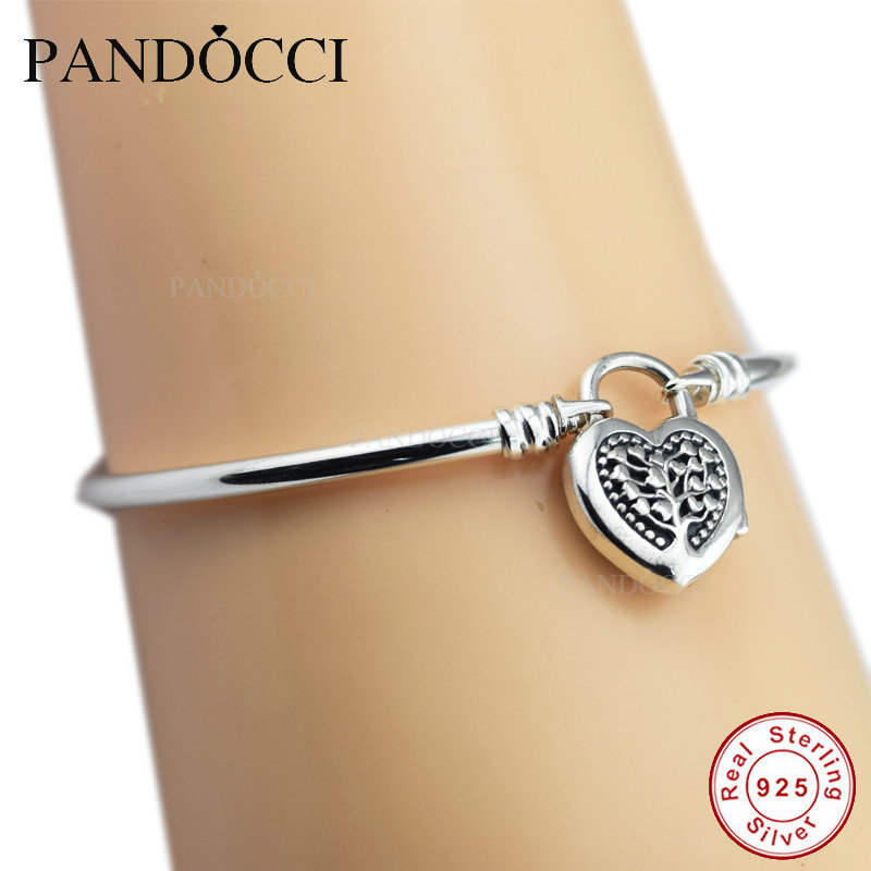 a00c61db9 Limited Edition Flourishing Heart Padlock Bangle 925 Sterling Silver DIY  Beads Fit Pandora Charm Exotic Bracelets for Women-in Bangles from Jewelry  ...
