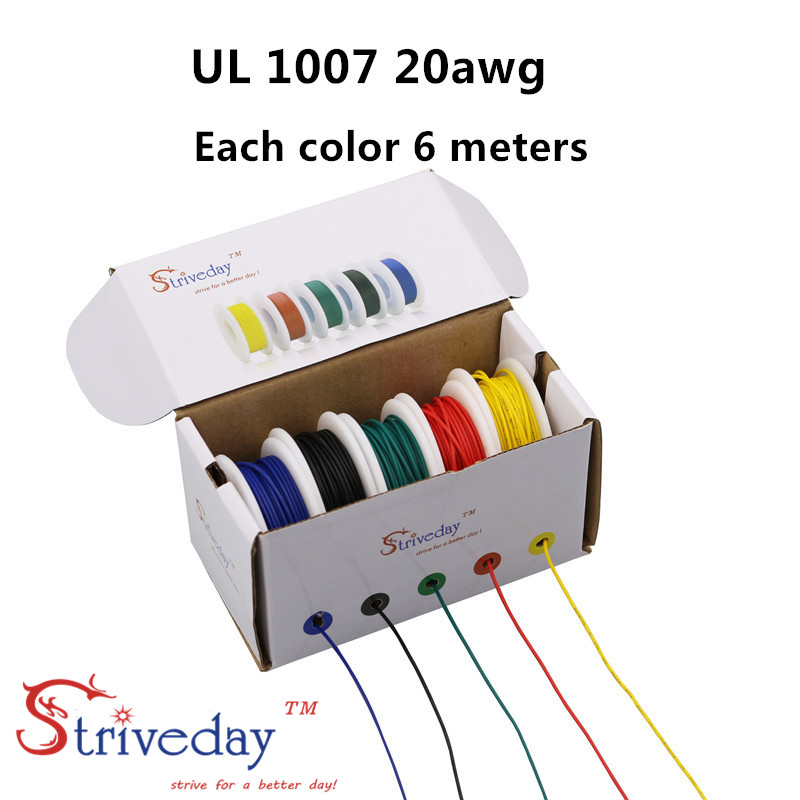 30 meters/box UL 1007 20awg (5 colors Mix Stranded Wire Kit ) Electrical Wire Cable Line Airline Copper PCB Wire each colors 6 m