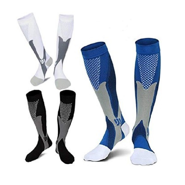 Compression Socks(3 Pairs) Nylon Knee High Stockings 15-20 Mmhg BEST Graduated Athletic & Medical For Men & Women Riding,Running