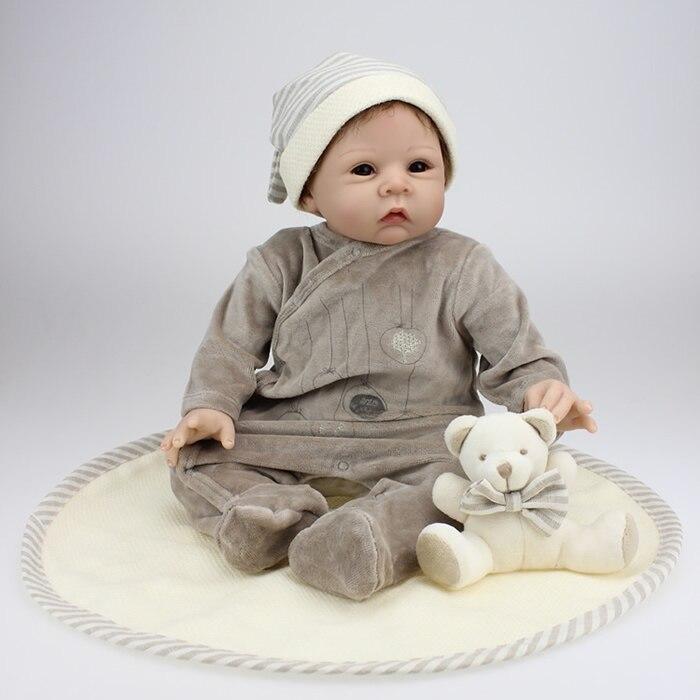 Buy 22 inch Reborn baby dolls 50 cm silicone reborn baby dolls vinyl baby doll gift reborn baby dolls newborn Free shipping