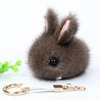 Cute Bunny Keychain Mink Fur Pom Pom Ball Keychain Women Bag Pendant Pretty Chic Handmade Charm Keyring Boutique Gift