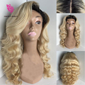 100% Virgin Unprocessed 613 lace wig Blonde Two Tone Color ombre lace wig 1b 613 full lace wigs Body Wave With baby hair