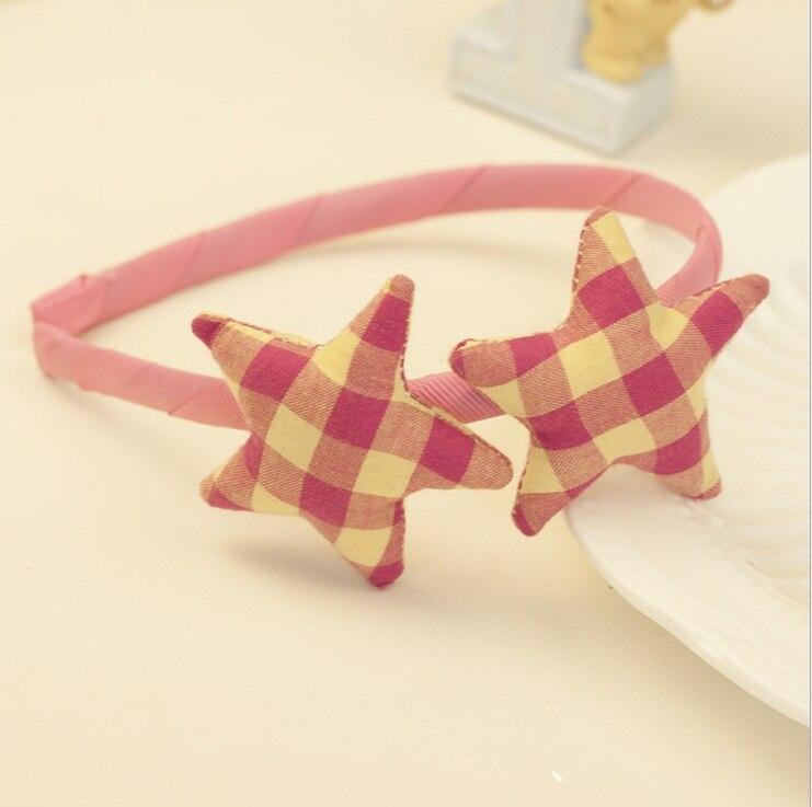 12 шт. модные корейские милые повязки для волос в клетку со звездами, жесткие повязки на голову с набивкой в виде звезды, аксессуары для волос для девушек, аксессуары для принцесс - Цвет: Розовый