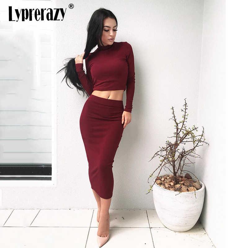 cb1db410c53 Lyprerazy 2018 New 2 Piece Set Women Long sleeve party dresses Sexy Bodycon  Slim Wine women