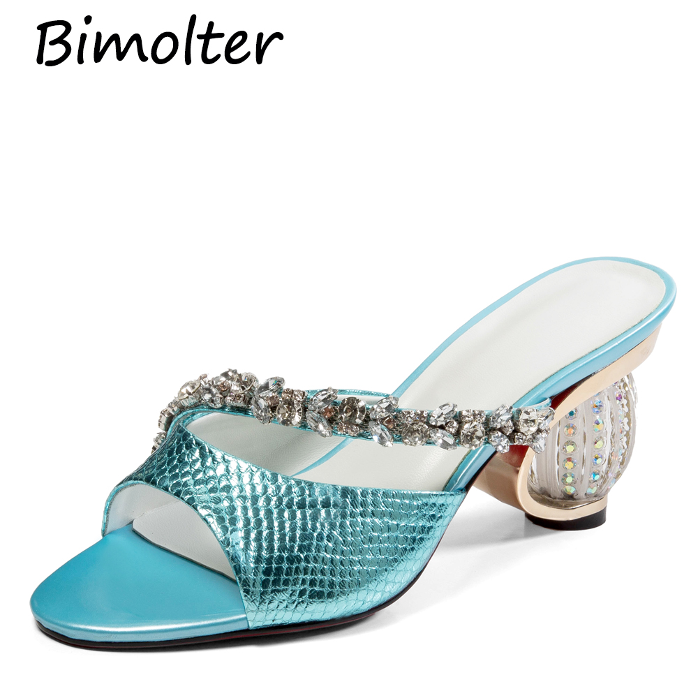 Bimolter Fashion woman shoes Rhinestone Crystal High Heels Summer Shoes Female Open Toe Women Sandals Lady Outdoor Slides FC049