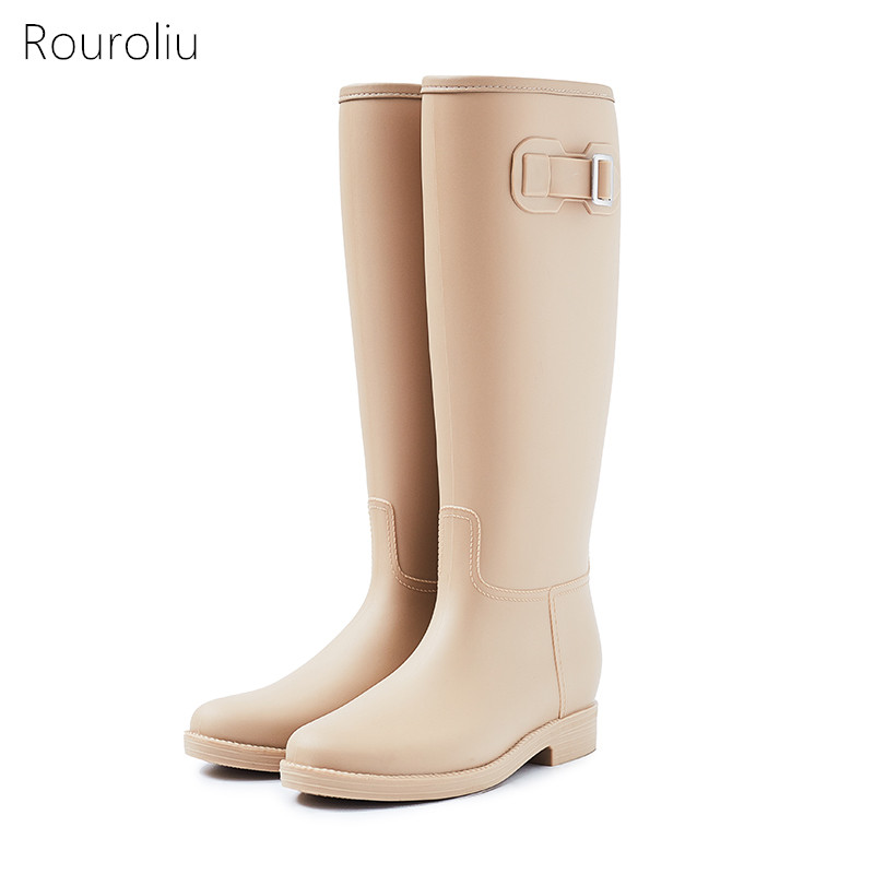 Rouroliu Women Knee-High Buckle Rubber Rain Boots Slip-On Waterproof Water Shoes Woman Tall Wellies Non-slip RT293 buckle slip on wedges