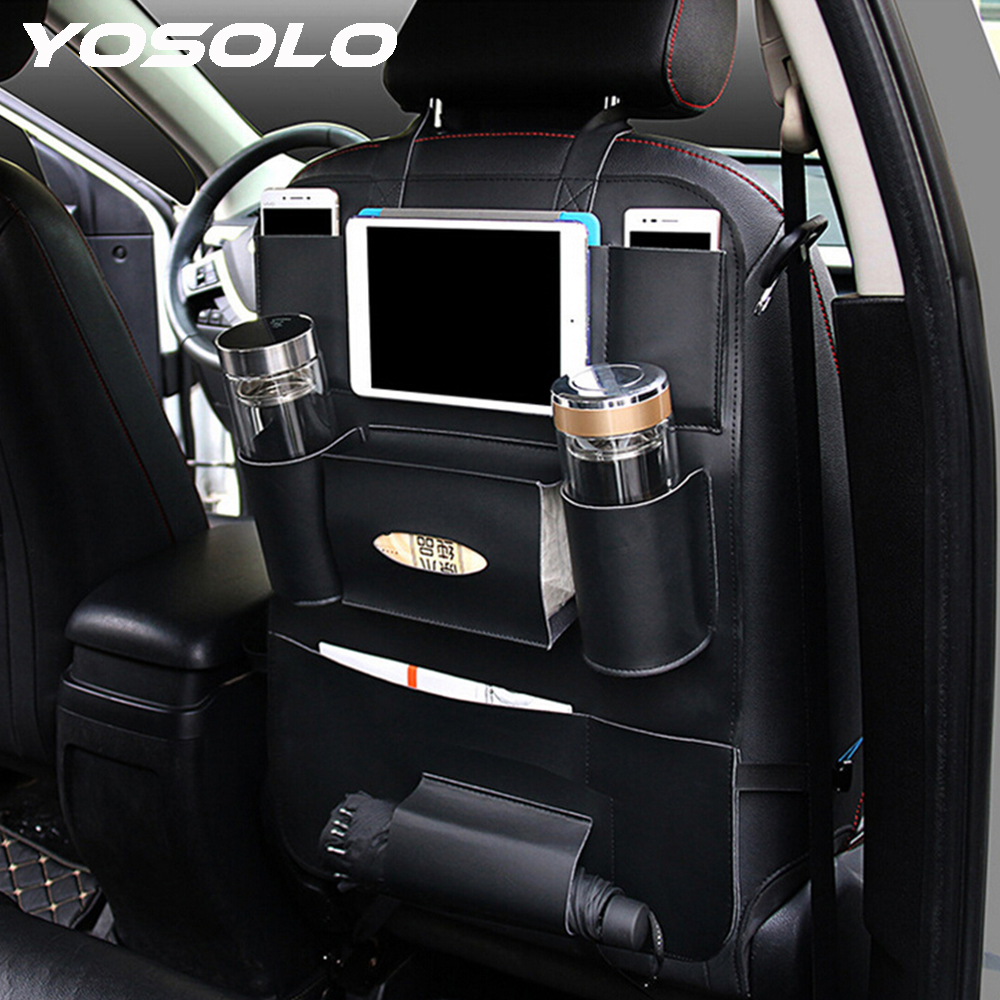 YOSOLO Car Seat Back Storage Bag Backseat Pockets Organizer Box Drink Magazine Tissue Phone Holder Stowing Tidying Accessories genuine leather car storage bag organizer universal back seat bags backseat trunk travel holder box pockets protector for kids