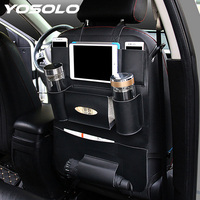 YOSOLO Car Seat Back Storage Bag Backseat Pockets Organizer Box Drink Magazine Tissue Phone Holder Stowing