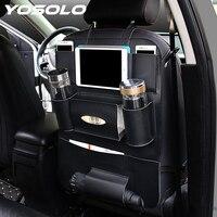 YOSOLO Car Seat Back Storage Bag Backseat Pockets Organizer Box Drink Magazine Tissue Phone Holder Stowing