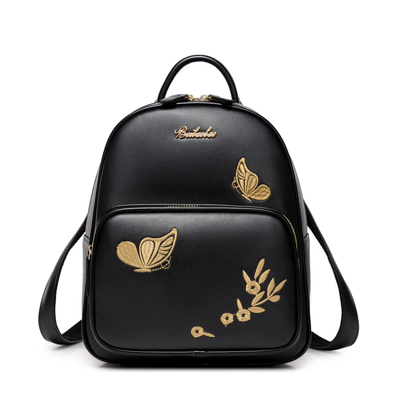 Fashion Floral Leather Backpack Women Embroidery School Bag for Teenage Girls Brand Ladies Small Backpacks Sac A Dos Beige Black women backpacks fashion pu leather shoulder bag small backpack women embroidery dragonfly floral school bags for girls