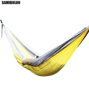 Image 2 - SAMIBULUO na świeżym powietrzu wysokiej jakości dorosłych trwałe spadochron Camping hamak z opaska na drzewo podwójne
