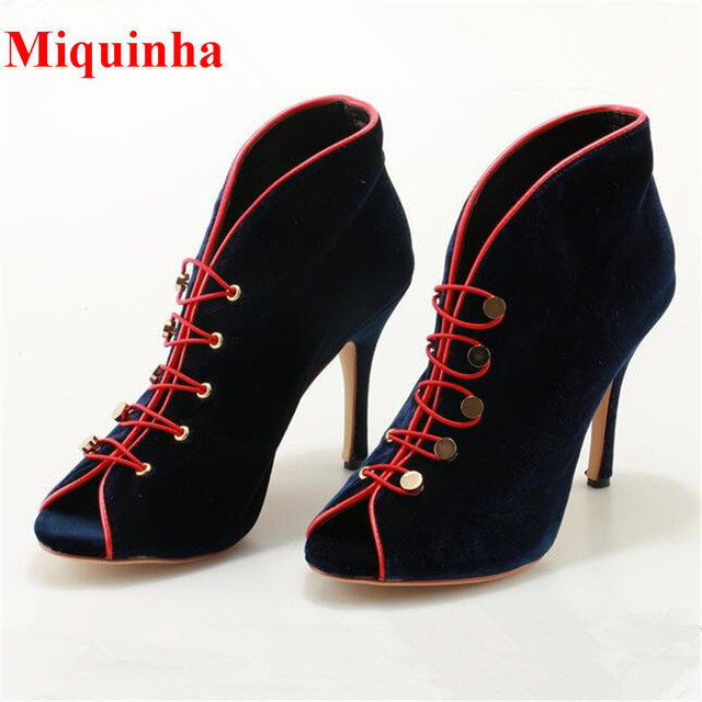 d0148866aa5 US $109.73  Fashion Women Booties Blue Velvet Red Patchwork Ankle Boots  Button Studded Peep Toe Stiletto Heels Bota Feminina PumpShoes Woman-in  Ankle ...