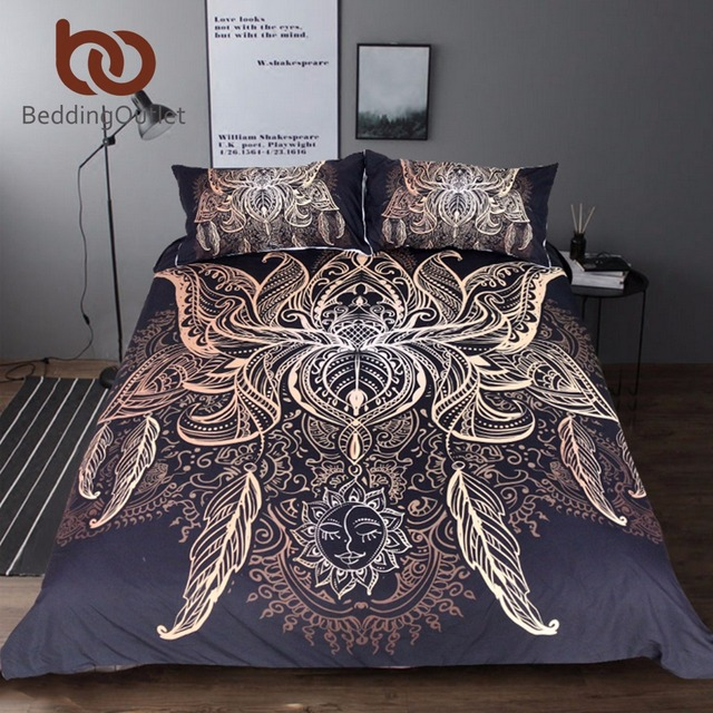 BeddingOutlet Lotus Bedding Set Queen Size Flower Bohemian Duvet Cover Sun  Print Boho Bed Set King