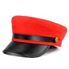 Unisex mujeres brim gris rojo y negro militar sombreros Otoño Invierno lana  Pu Patchwork de cuero 92cd5adb421