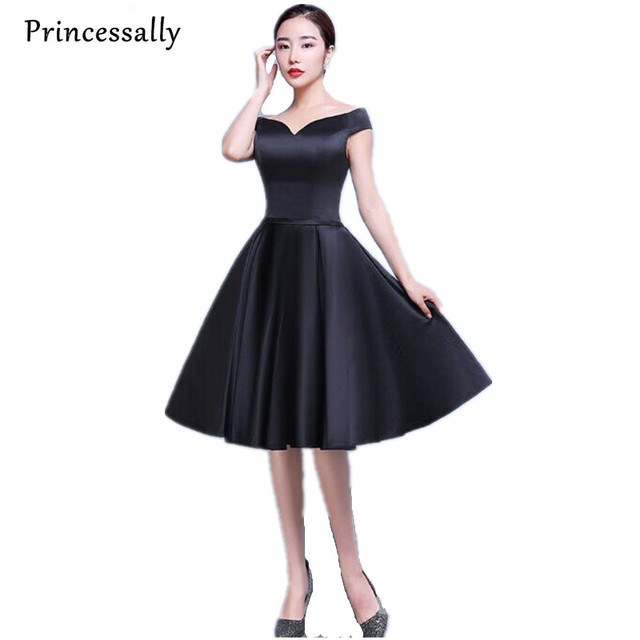 Black Satin Knee Length Dresses