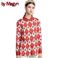 by Megyn runway shirts blouses 2018 new summer womens diamond zebra print tops blouses women plus size 3xl long sleeve shirts