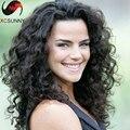 130% densidad brasileño de la virgen del pelo humano rizado U parte peluca de cabello humano 100% U parte pelucas parte media rizado U parte peluca