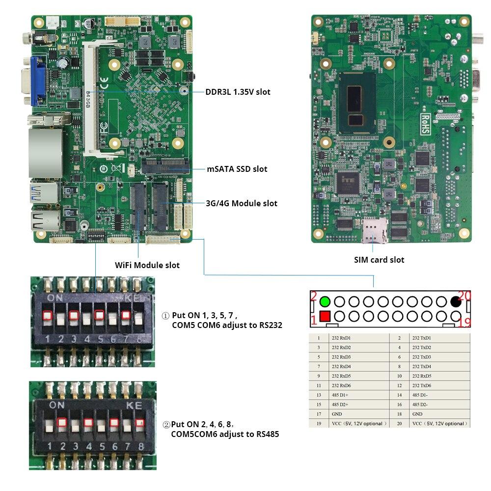 Безвентиляторный Intel Core i7-4500U Мини ПК Windows Dual Gigabit Ethernet WiFi 6* RS232/485 8* USB HDMI VGA 4G LTE промышленный микро ПК