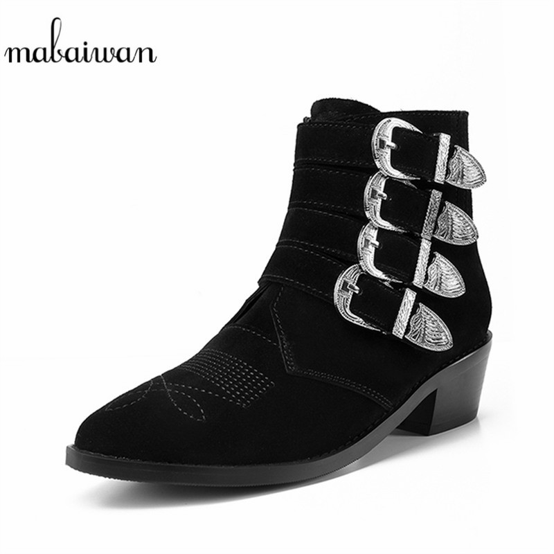 Mabaiwan Black New Women Shoes Flat Ladies Autumn Thick Heel Ankle Boots Metal Buckles Embroidered Martin Botas Motorcycle Boots nouba тушь для ресниц colorlash mascara тон 75 9 мл