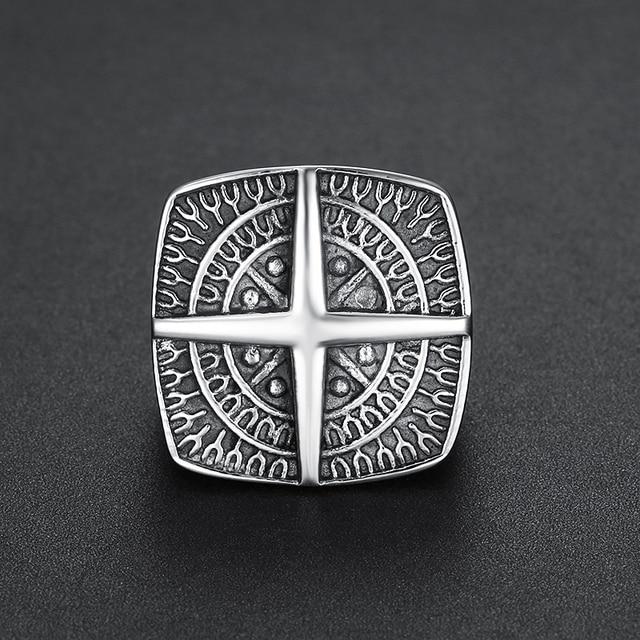 Bague croix viking en acier inoxydable  3