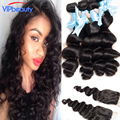 Loose Wave lace closure with human hair weave ,Peruvian virgin hair with lace closure Unprocessed lace closure with 3 bundles