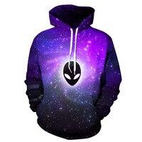 Harajuku 3D Print Galaxy Purple Aliens Fashion Sweatshirts Long Sleeve With Hat Men Women Vogue Hoodies