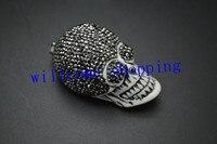 1 PC 27x48 MM Cool Homme Crâne Pendentif Unique Conception Pavée Cristal Perles Sur Le Dessus Pour Divers Partis cadeau Livraison Gratuite