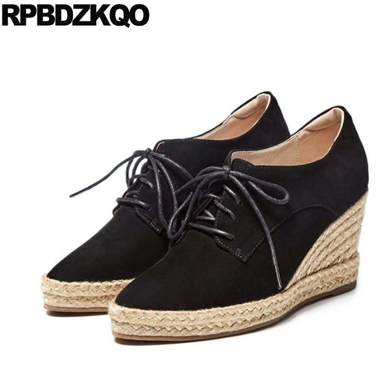 Lace Up Espadrilles High Quality Size 33 2018 Wedge Oxfords Women Green 3 Inch 4 34 Black Shoes Pointed Toe Heels Suede Pumps annymoli platform high heels lace up wedge shoes ladies pumps pointed toe lace up increasing heels shoes black white size 34 39