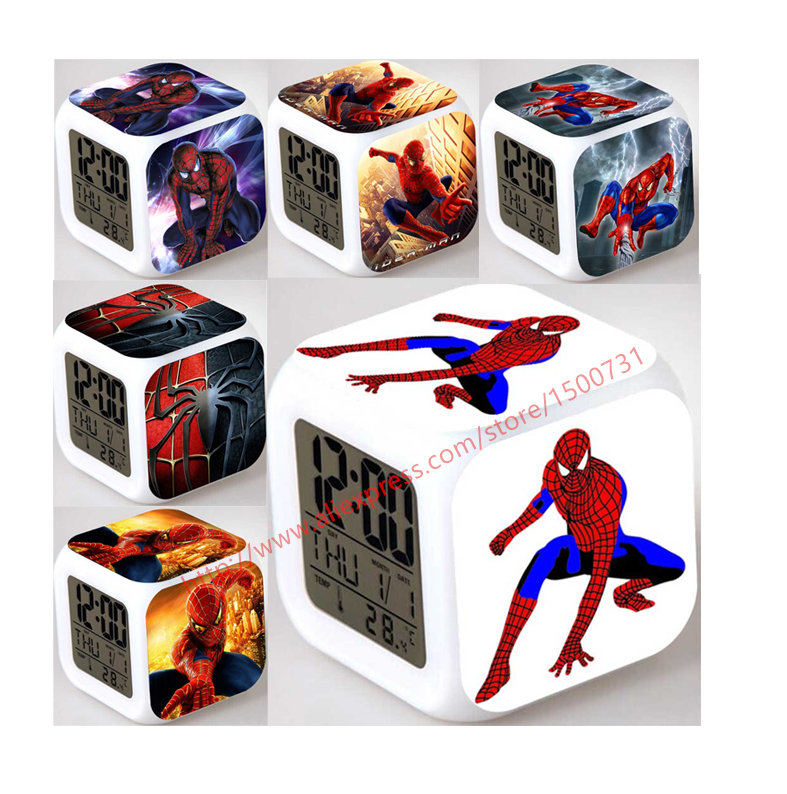Cool spider boy gift led glowing alarm clock despertador for Funky household gifts
