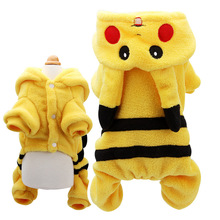 New Warm Flannel Dog Clothes Cute Pikachu Puppy Pet Costume Pokemon Apparel Suit Cartoon Winter Hoodie Coat Jumpsuit