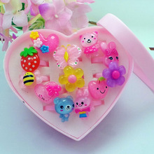 Children's Cartoon Rings Baby Kids Rings for Girls Flower Cartoon Animal Ring Set Mix Finger Jewery 12pcs Rings with Display Box
