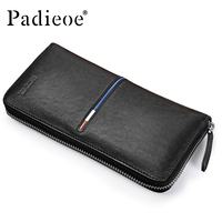 Padieoe 2017 Fashion Men Purse Genuine Leather Long Wallets for Male Leather Cell Phone Clutch Bag Casual Men's Small Handbag