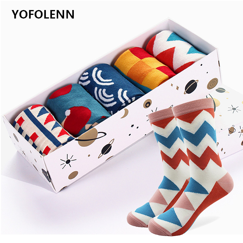 5 Pairs/lot Men's Funny Colorful Combed Cotton Socks Novelty Pattern Long Tube Crazy Wedding Skateboard Socks For Men (No Box)