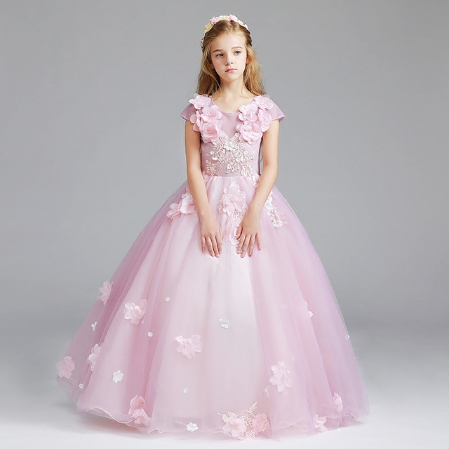 97624b167b6e Us $890 Abito Comunione Pink White Flower Girl Dresses Short Sleeve Ball  Gown Kids Evening Gown