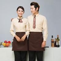 Free Shipping Dessert Shop Staff Work Clothing Cafeteria Waiter Long Sleeve Coffee Shirt+Apron Western Restaurant Uniform