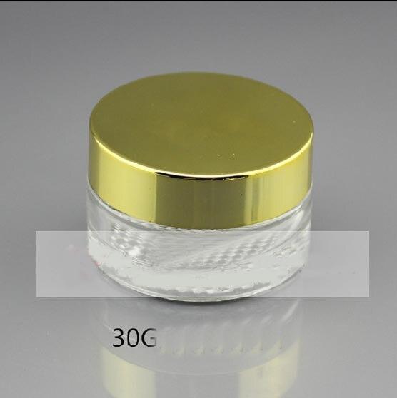 ⑦30g tarro de crema de cristal transparente con tapa de oro