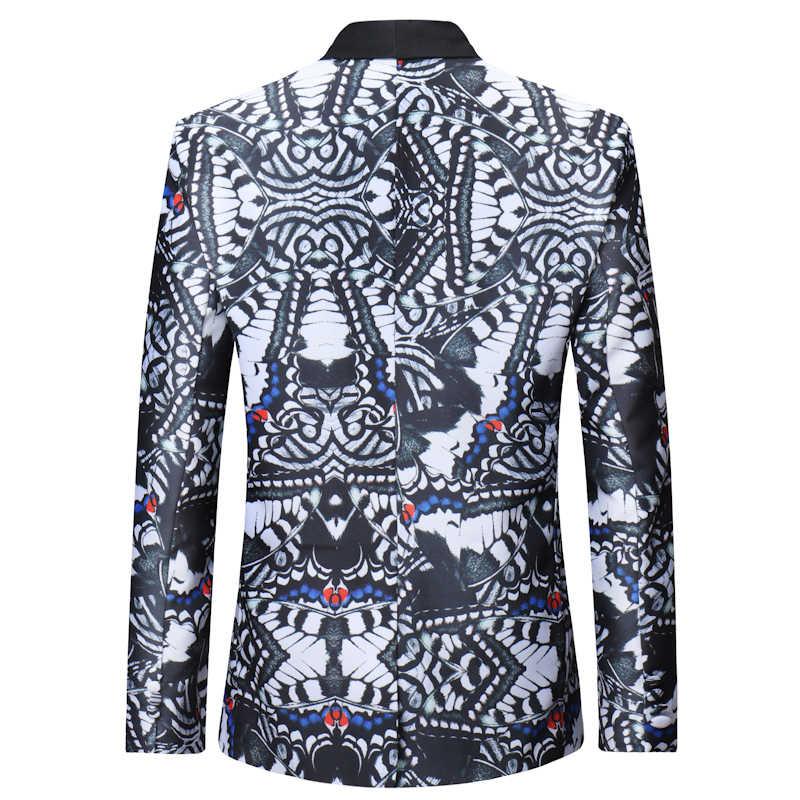 2018 Fashion Pria Single Breasted Blazer Casual Slim Fit Halloween Cetak Gaun Pesta Blazer Pria Tahap Penyanyi Memakai Jaket